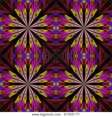 Symmetrical Pattern In Stained-glass Window Style. Red, Yellow And Purple Palette. Computer Generate