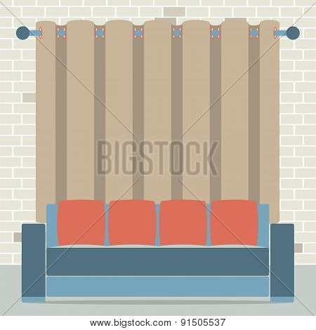 Empty Sofa In Front Of Brown Curtain And Brick Background.
