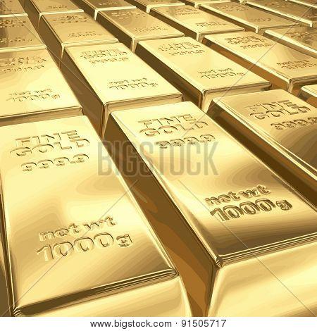 Stacks of gold bars vector illustration EPS 8.
