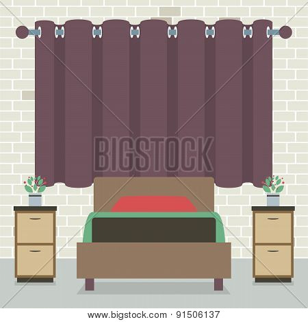 Single Bed In Front Of Curtain And Brick Wall.