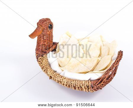 bread-plate of flat white bread isolated on white background