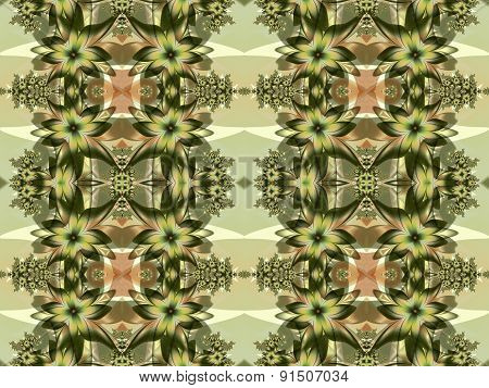 Flower Pattern In Fractal Design. Green And Beige Palette.