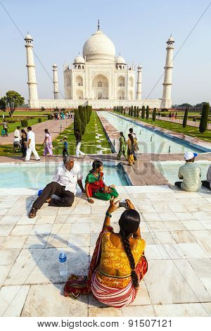 People Visit Taj Mahal In Agra, India