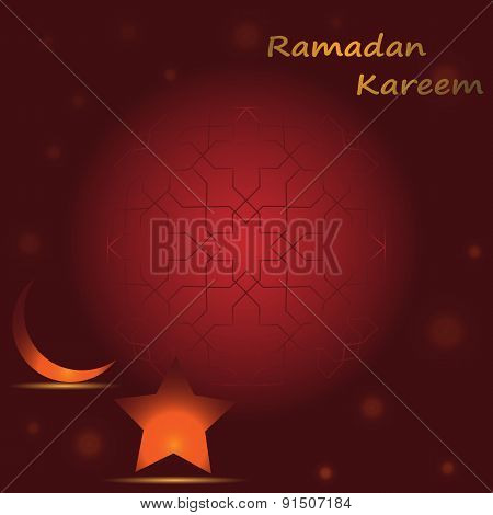 Gold Star And Gold Crescent Moon On A Red Background With A Pattern For The Holy Month Of Muslim Com