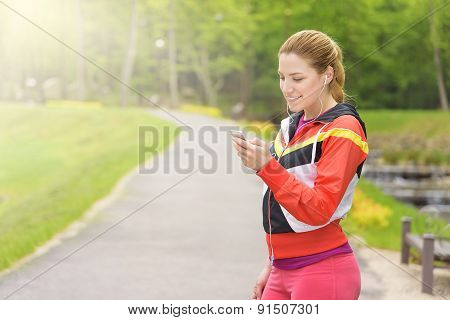 Lady Running On A Park