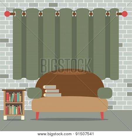 Sofa With Bookcase In Front Of Green Curtain.