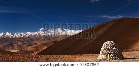 Himalayas panorama with Cho Oyu mount, view from Tibet