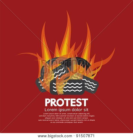 Protest By Tires Burned.