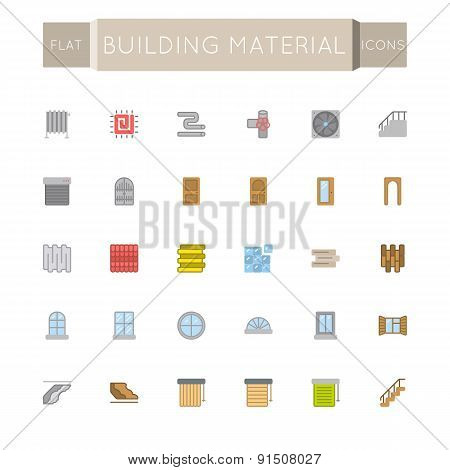 Vector Flat Building Material Icons