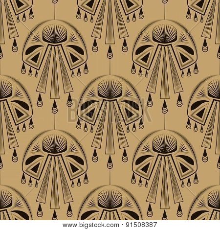 Seamless Beautiful Antique Art Deco Pattern Ornament. Geometric Background Design. Vector Repeating