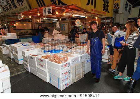 Famous Tsukiji fish market shops