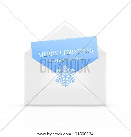 Open Christmas Envelope With Snowflake