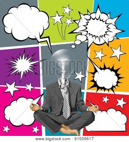 Relax concept. Vector businessman in lotus pose meditating, with speech and thought bubbles