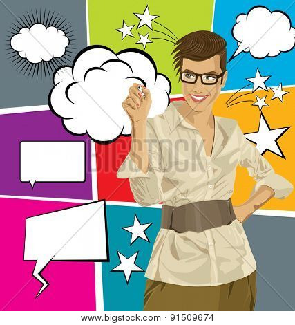 Idea concept. Vector Business woman writing something, with speech and thought bubbles