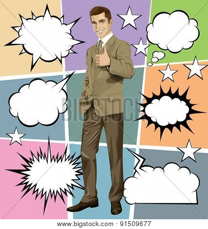 Vector hipster business man shows well done, with speech and thought bubbles