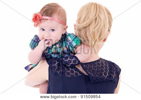 Back View Of Young Mother With Baby Isolated On White