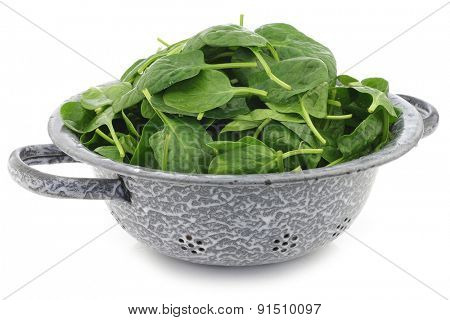 fresh spinach leaves in an enamel colander on a white background