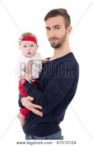 Portrait Of Happy Young Father With Little Daughter Isolated On White