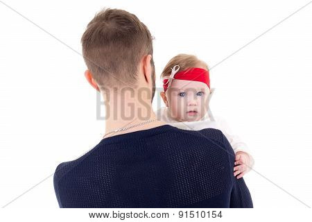 Back View Of Young Father Holding Little Daughter Isolated On White