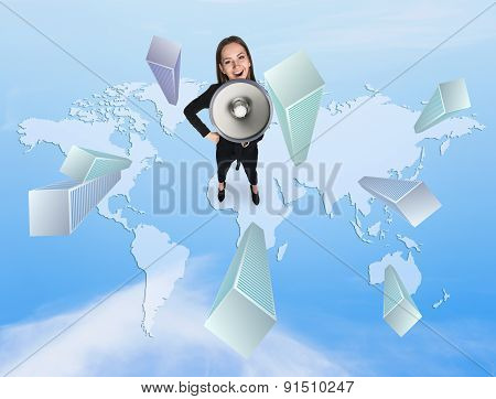 Woman shoutting in megaphon