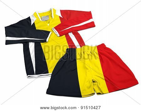 Flag From Belgium On Nylon Soccer Sportswear Clothes