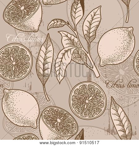Vintage Lemon Seamless Background