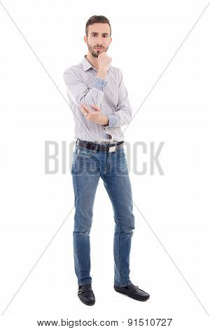 Full Length Portrait Of Handsome Man Isolated On White