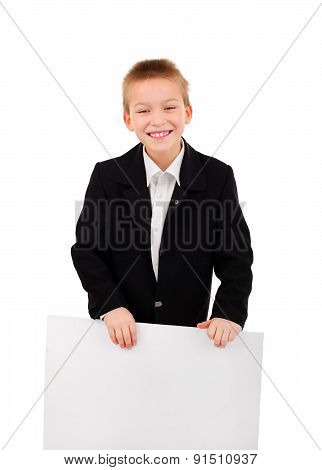 Cheerful Kid With Blank Paper