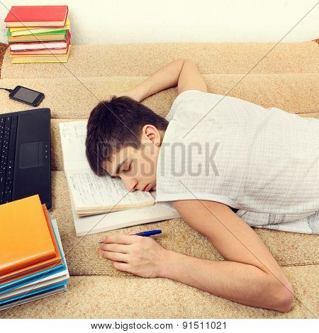 Student Sleeping On Sofa
