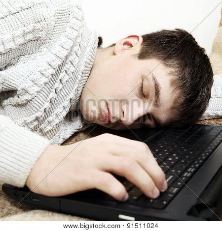 Teenager Sleep On Laptop