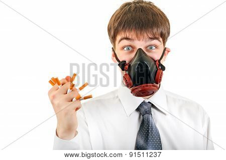 Teenager In The Mask Hold A Cigarettes