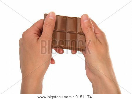 Chocolate in female hands