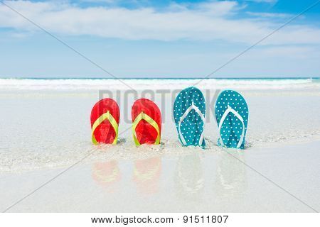Beach, Slippers On Tropical Beach