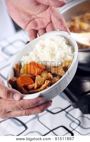 Chef Presented Japanese Pork Curry With Steam Rice