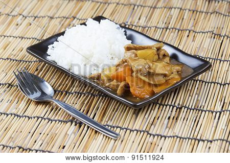 Japanese Pork Curry With Rice ,carrot,onion And Potato