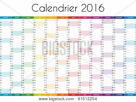 Calendrier 2016 - VERSION FRANCAISE