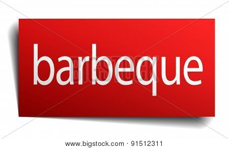 Barbeque Red Paper Sign Isolated On White