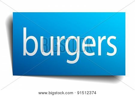 Burgers Blue Square Isolated Paper Sign On White