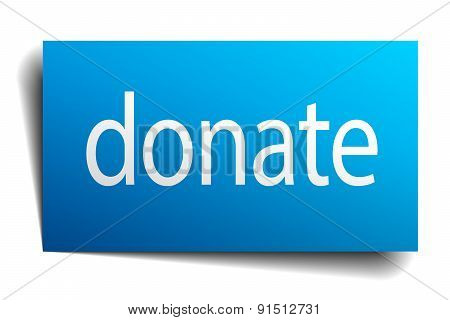Donate Blue Paper Sign On White Background