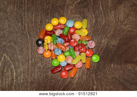 top view assorted colorful candies