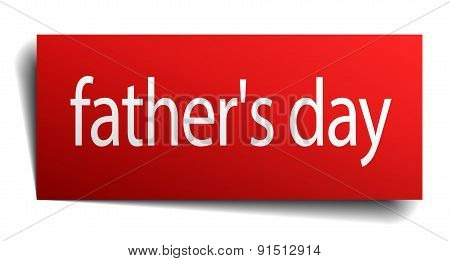 Father's Day Red Paper Sign On White Background
