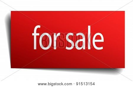 For Sale Red Paper Sign On White Background