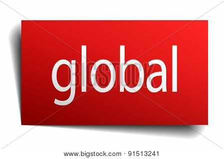 Global Red Square Isolated Paper Sign On White
