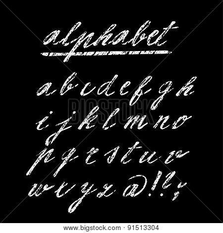 Hand Drawn Chalk Vector Alphabet, Font, Isolated Letters