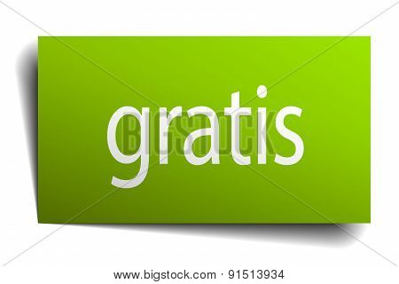 Gratis Green Paper Sign Isolated On White