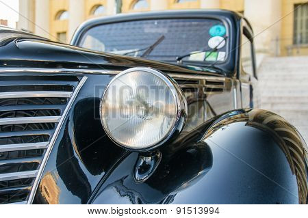 Headlight Of Black Vintage Car