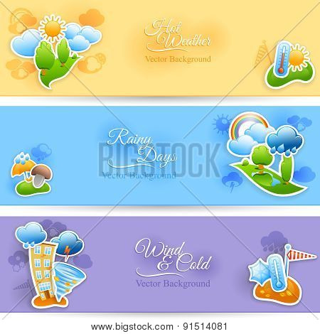 Weather background banners set