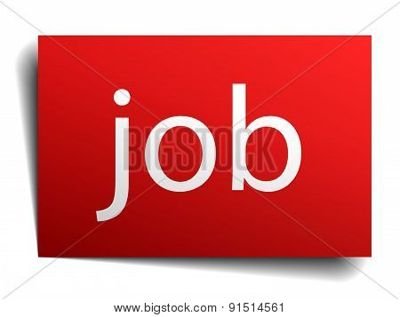 Job Red Square Isolated Paper Sign On White