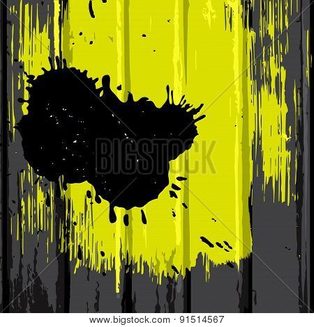 Brush Yellow Stain On Wood Background