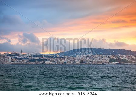 Bright Sunset Sky Over Tangier City, Morocco